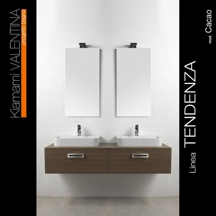 Mobile bagno in noce con doppio lavabo - Arredo bagno doppio lavabo ...